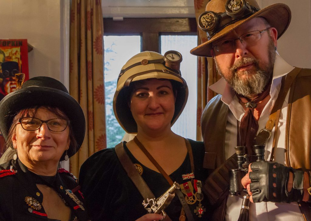Helen, Stuart and Lady Jane from the Gosport Steampunk Society